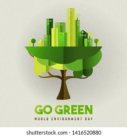 World Environment Day illustration for ecology concept. Eco friendly green city growing from tree.