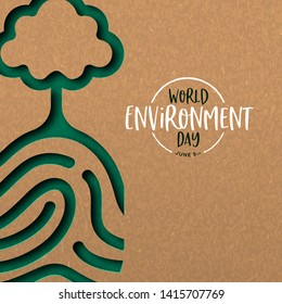 World Environment Day illustration of papercut human finger print with tree. Recycled paper cutout for planet conservation.