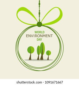 World Environment Day. Lettering card. Poster, cover, card, print design Environment Day. Vector illustration