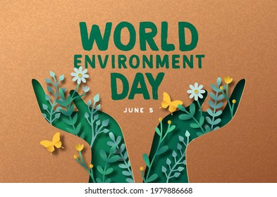 World Environment day papercut greeting card illustration of green people hand symbol with 3d paper craft nature decoration. June 5 ecology care celebration.