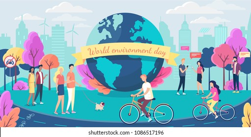World environment day. People walking in the ecological clean park. No car day. Car free day