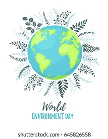 World Environment day poster with branches and text. Cartoon Earth planet isolated on white background.