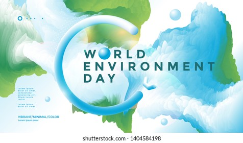 World Environment Day poster design with fluid green and blue shape. Vector Illustration