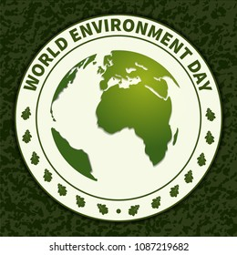 World Environment Day. Rubber seal, seal with globe and tree leaves. Ecology. for the design of postcards, posters and printing. Vector illustration.