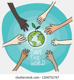 world environment day and sustainable environment concept. people's volunteer hands planting green globe and tree for saving environment nature conservation and csr corporate social responsibility