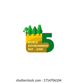 World Environment Day. Typography logo design. The Text with trees. Ecology design. celebrate on June 5. vector illustration