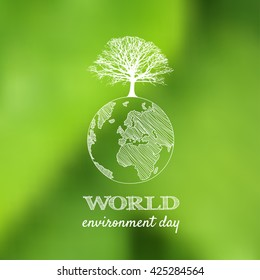 World environment day vector card, poster on blur green background.