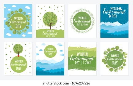 World environment day. Vector illustration with the words, wooden signboard and green leaves. Eco friendly ecology concept. Set of posters