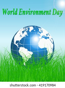 World Environment day. Vector illustration background Earth globe on grass. Earth day