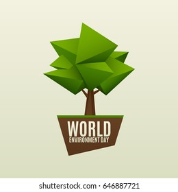 World environment day vector illustration. 5 June. Simple low poly green tree on ground