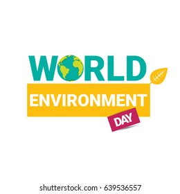 world environment day vector label or banner with earth globe isolated on white background