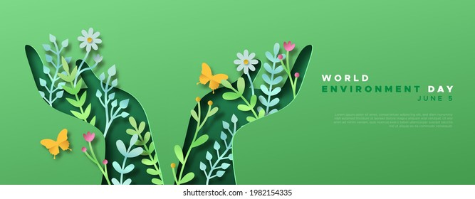 World Environment day web template papercut illustration of green people hands with 3d paper craft nature decoration and copy space. June 5 ecology care celebration.
