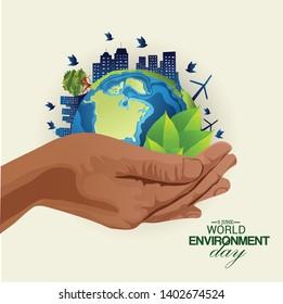 World Environment Day-earth ecological environment. Poster, cover, card, print design Environment Day. Vector illustration - Vector