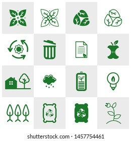 World environment icons Logo Concepts. World Ecology vector for web. Eco Vector Line Icons. Icons Electric Car, Global Warming, Forest, Organic Farming and more. Editable Stroke. Recycle Icon