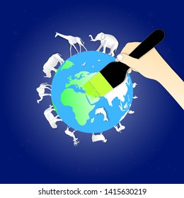 World environment or wildlife day with animal in nature of paper art style ,vector or illustration with love the earth concept