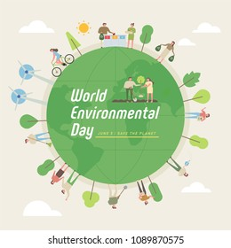 world environmental day concept poster. flat design style vector illustration set