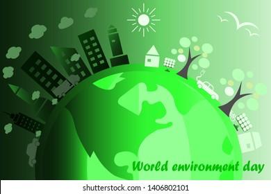World environmental saving day concept idea by green tonality color