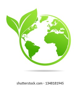 World environmental ,saving logo and ecology friendly concept  Vector illustration