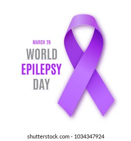 World epilepsy day. Purple ribbon on white background. Epilepsy solidarity symbol. Vector illustration.illustration.