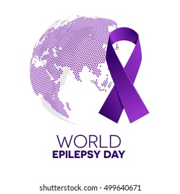 World epilepsy day. Purple ribbon.