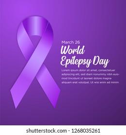 World epilepsy day set. Purple ribbon on white and dark violet background. Epilepsy solidarity symbol. Vector illustration