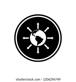 World expansion round glyph icon, Social Community icon isolated on white background