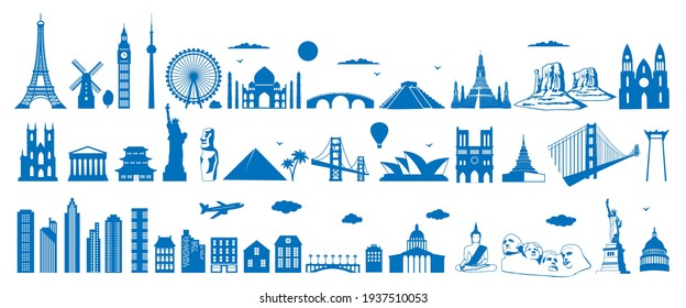 World famous architecture landmarks silhouettes, vector illustration. Travel, tourist attractions, monuments. Eiffel Tower, Big Ben, Statue of Liberty, Taj Mahal,Egypt pyramid.