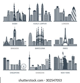 World famous capitals cities characteristic downtown business center edifice buildings silhouettes skyline  black abstract isolated vector illustration