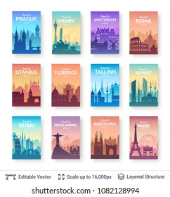 World famous city scapes set. Flat well known silhouettes. Vector illustration easy to edit for flyers or web banners.