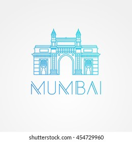 World famous Gate to India. Greatest Landmarks of Asia. Linear modern style vector icon symbol of India, Mumbai.