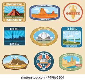 World famous international landmarks vector vintage travel stickers. Famous landmark for tourism and journey illustration