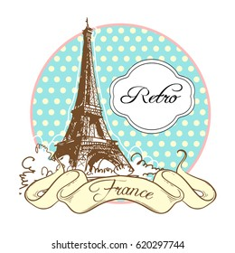 World famous landmark collection in retro style. France. Paris. Eiffel Tower. Vector illustration isolated on white