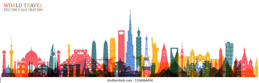World famous Landmark colorful art. Global Travel And Journey Infographic Back. Vector Flat Design Template.vector/illustration.Can be used for your banner, business, education, website or any artwork