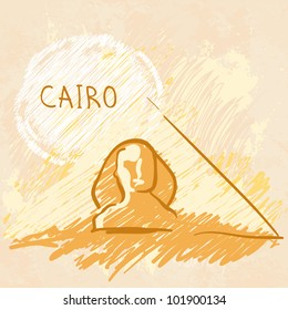 World famous landmark series: Pyramids and Sphinx, Cairo, Egypt
