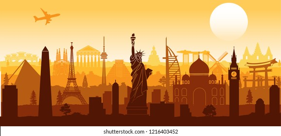 world famous landmark silhouette style with row design on sunset time,vector illustration