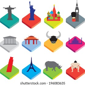 world famous landmarks as icon or button designs in colour on white background