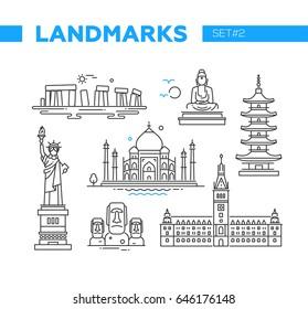 World Famous Landmarks - illustration of vector line design icons set. Isolated images of Stonehenge, Buddha, statue of Liberty, Pagoda, Taj Mahal, Easter Island heads, Hamburg Rathaus
