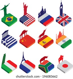 world famous landmarks as a square icon or button flag designs in colour isolated on a white background with silhouettes of famous landmarks