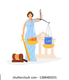 World Famous Law Symbol Color Vector Illustration. Faceless Roman Goddess Themis. Legal Book and Golden Coins in Scales. Balance. Woman Holding Sword Cartoon Character. Justice and Order Metaphor