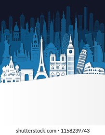World famous monuments skyline. Travel and tourism background. Vector illustration