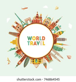 World famous monuments. Travel and tourism background. Vector illustration