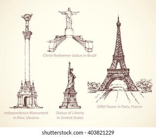 World famous touristic place of old known great patriotic art memorials, obelisk column. Freehand outline ink hand drawn picture icon sketchy in retro doodle style pen on paper background