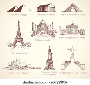 World famous touristic place of old known great historic building memorials. culture heritage. Outline ink hand drawn picture icon sketch in art retro engraving graphic style pen on paper background