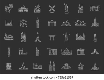 World famous travel and tourism landmarks. Illustations in outline style