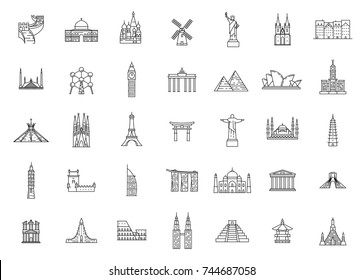 World famous travel and tourism landmarks. Illustrations in outline style
