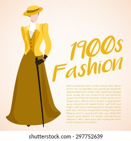 World Fashion History Set : 1900s : Vector Illustration