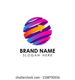 World finance business logo template. Digital 3D globe with arrow shape vector icon