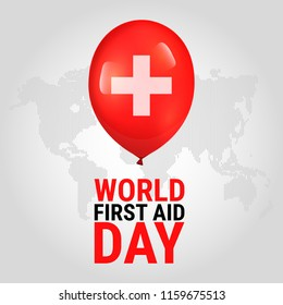 World First Aid Day. Global observance held on the second Saturday in September. Vector illustration