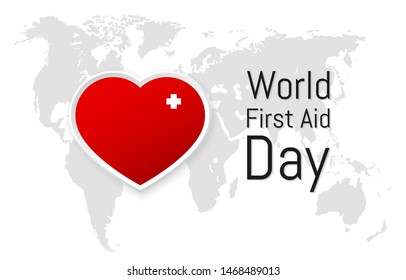World First Aid Day. Vector illustration with world map on background