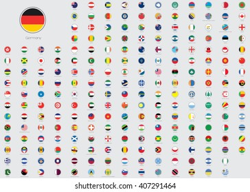 World Flag Illustrations in the shape of a Circle